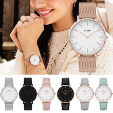 Top Style Fashion Women's Luxury Leather Band Analog Quartz WristWatch Golden Ladies Watch