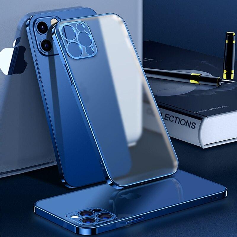 Custodia in Silicone morbido opaco con cornice quadrata di lusso per iPhone 11 12 Pro Max Mini XR X XS 7 8 Plus SE 2020 Cover trasparente 2