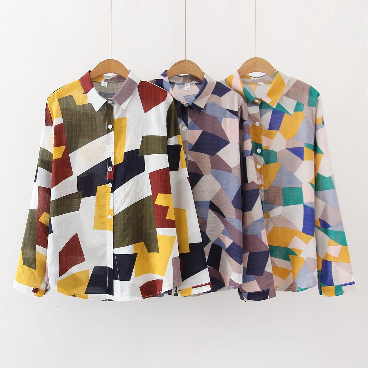 New Retro geometric print polo long sleeve casual loose shirt top for women