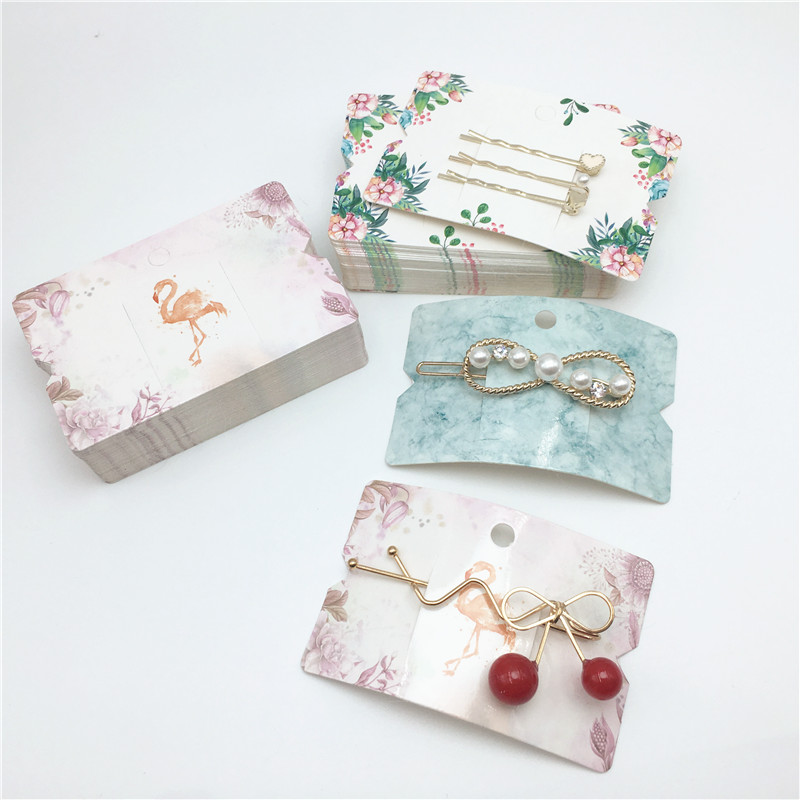 100PCS/Lot 8.5*5.5cm Blank Simple Hairpin Cards Kraft Paper Hair Accessory Display Packaging Cards Rubber Band Headband Cards