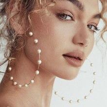 Pendientes de aro de perla de lujo de imitación para mujer, aretes grandes de tuerca con letras C a la moda, joyería Creole, aretes