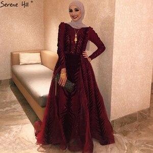 Image 2 - דובאי יין אדום קטיפה צווארון V ערב שמלות עיצוב יוקרה ואגלי לבוש הרשמי 2020 Serene היל בתוספת גודל LA60903
