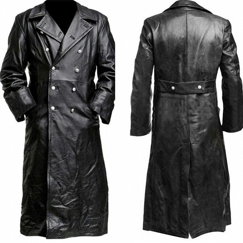 Men Long Sleeve Motorcycle Gothic Steampunk Vampire PU Leather Long Outwear Trench Jacket Coat Plus Size S-5XL Black Red Gray