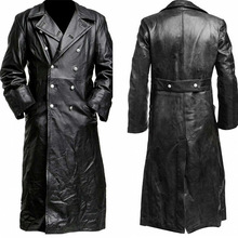 Men Long Sleeve Motorcycle Gothic Steampunk Vampire PU Leather Long Outwear Trench Jacket