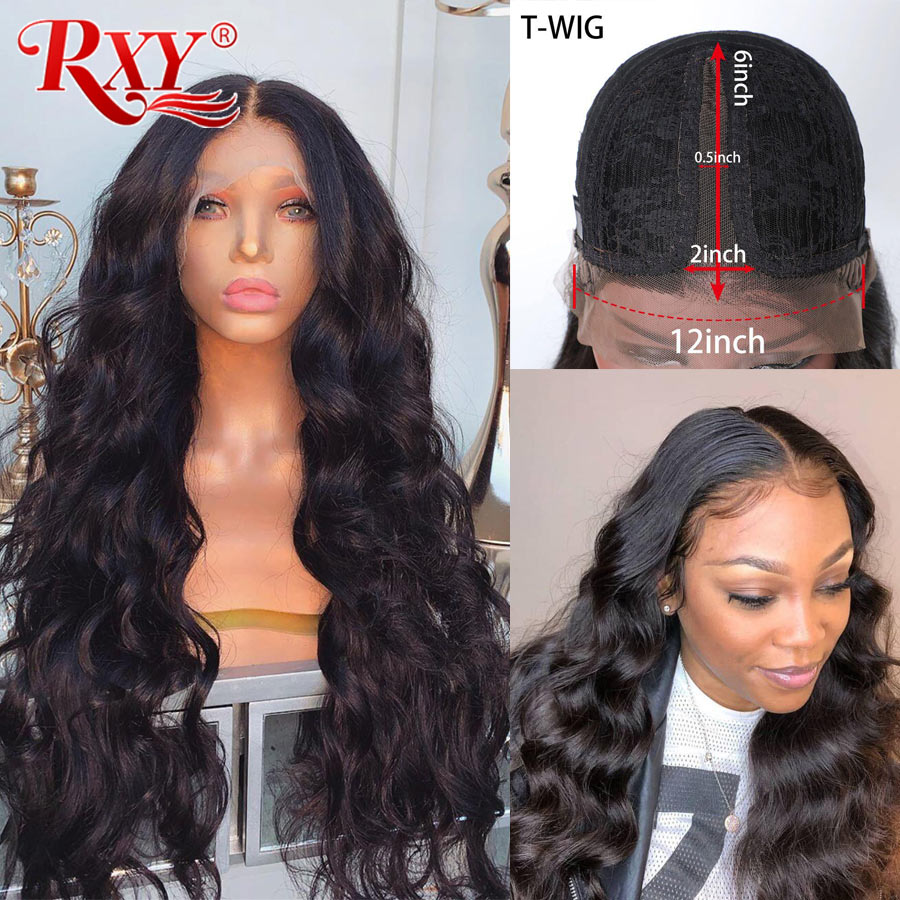 RXY 6 Inches T Part Body Wigs Lace Frontal Human Hair Wigs For Black Women Brazilian Lace Wigs Remy Pre Plucked With Baby Hair