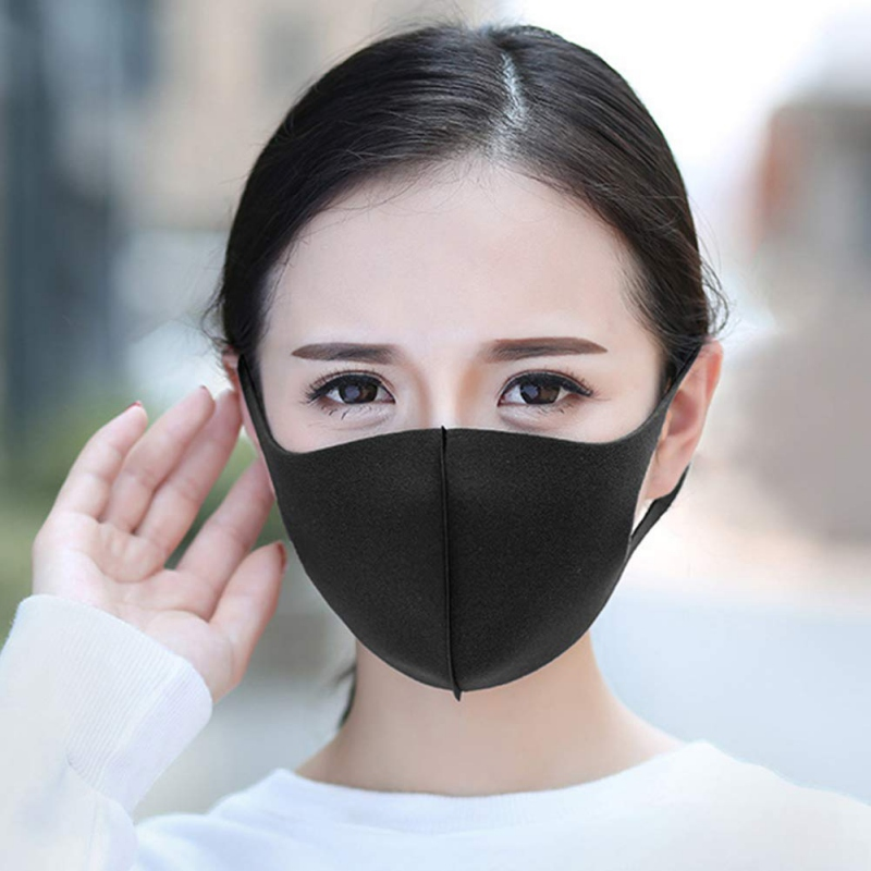 1PC Unisex 3D Dust Proof Anti-Fog Block Breathable Face Mask Thin Solid Ice Silk Mask