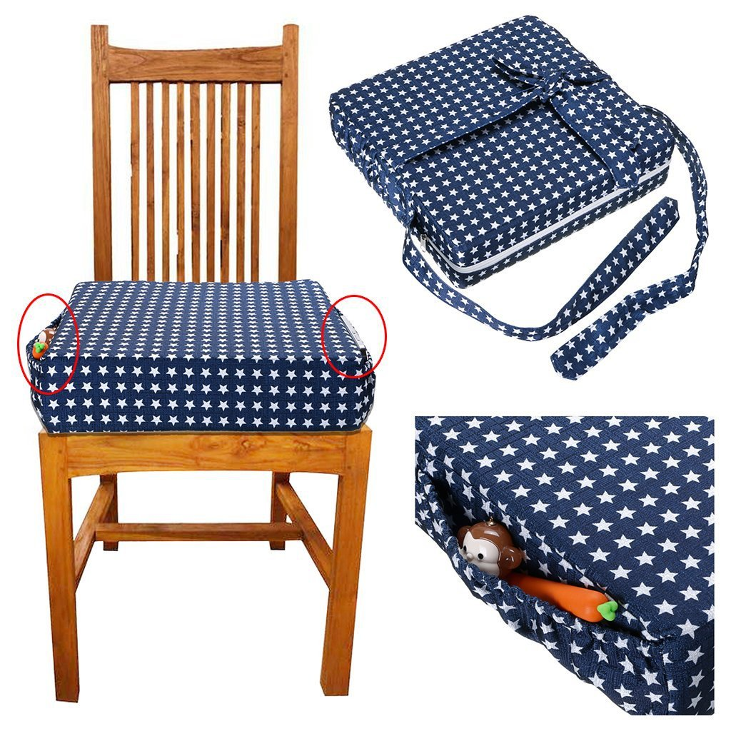 Children Increased Chair Pad Machine Washable Adjustable Removable Stars Kids Highchair Booster Seats Cushion Dinning Chair Pad