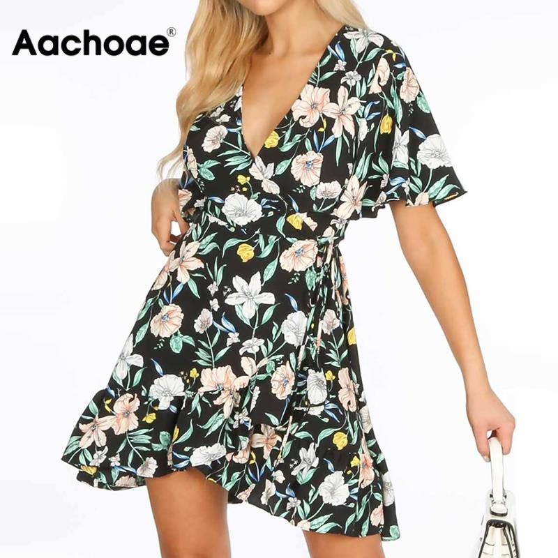 2020 Boho Summer Dress Women Floral Print Ruffle Beach Dress Sexy Deep V-neck Mini Party Dress Short Sleeve Sundress Vestidos