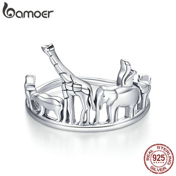 Bamoer Protection Animal Finger Rings For Women 925 Sterling Silver Elephant And Bear Band Jewelry Unisex Gift SCR656