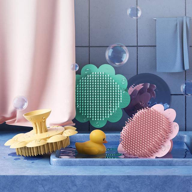 1 szt Szczotka pod prysznic dla dzieci kreatywny kształt słonecznika szczotki do kąpieli dla dzieci wielofunkcyjna silikonowa szampon dla dzieci szczotka do masażu do mycia włosów tanie tanio Gąbka CN (pochodzenie) Babies 4-6 M Stałe