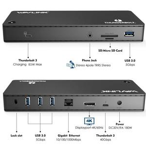 Image 2 - Wavlink Thunderbolt 3 Docking Station 4K@60Hz DisplayPort USB 3.0 85W charging Gigabit Ethernet for MacBook pro Intel Certified
