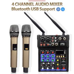G4 4 canal profissional dj áudio mixer portátil som música dispositivo de mistura suporte bluetooth conexão usb com microfone