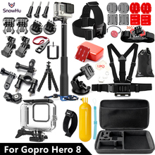 SnowHu for Gopro Hero 8 Black set 45M Underwater Waterproof Case Camera Diving Housing Mount for Go Pro Accessory GS93