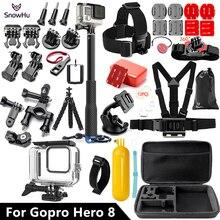 SnowHu funda impermeable subacuática para Gopro Hero 8, conjunto de color negro, 45M, montaje de carcasa de buceo para Go Pro, accesorio GS93