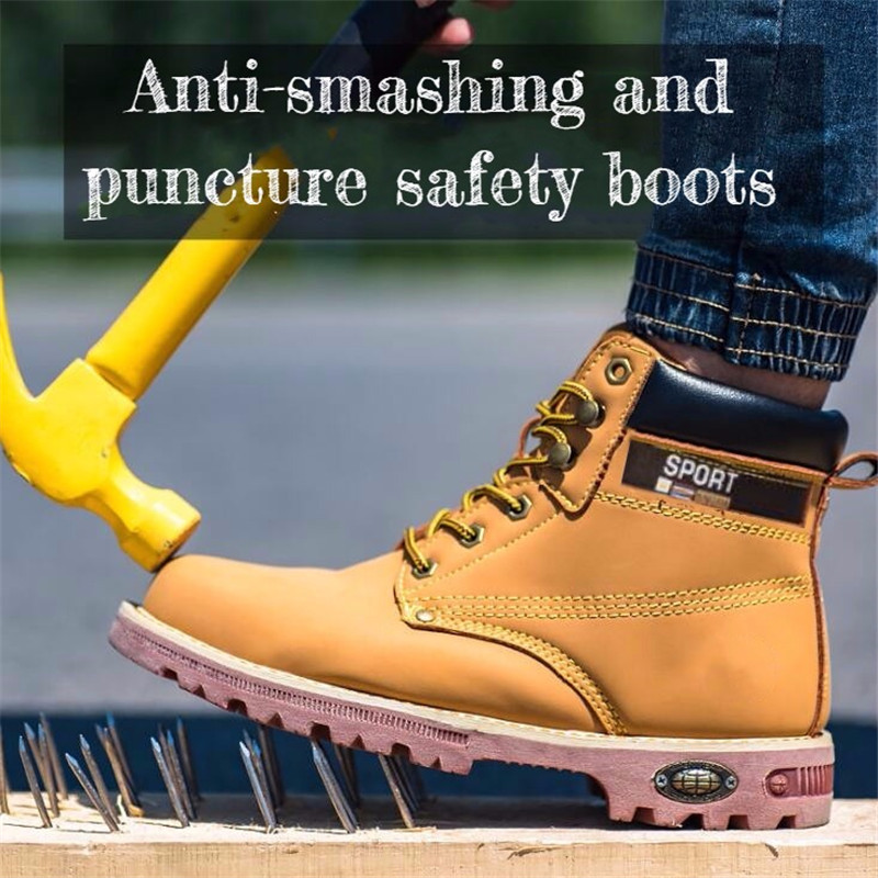 Man Winter Plus Velvet Cotton Shoes Men Steel Toe Work Safety Shoes Autumn Waterproof Puncture Proof Industrial Safety Boots image