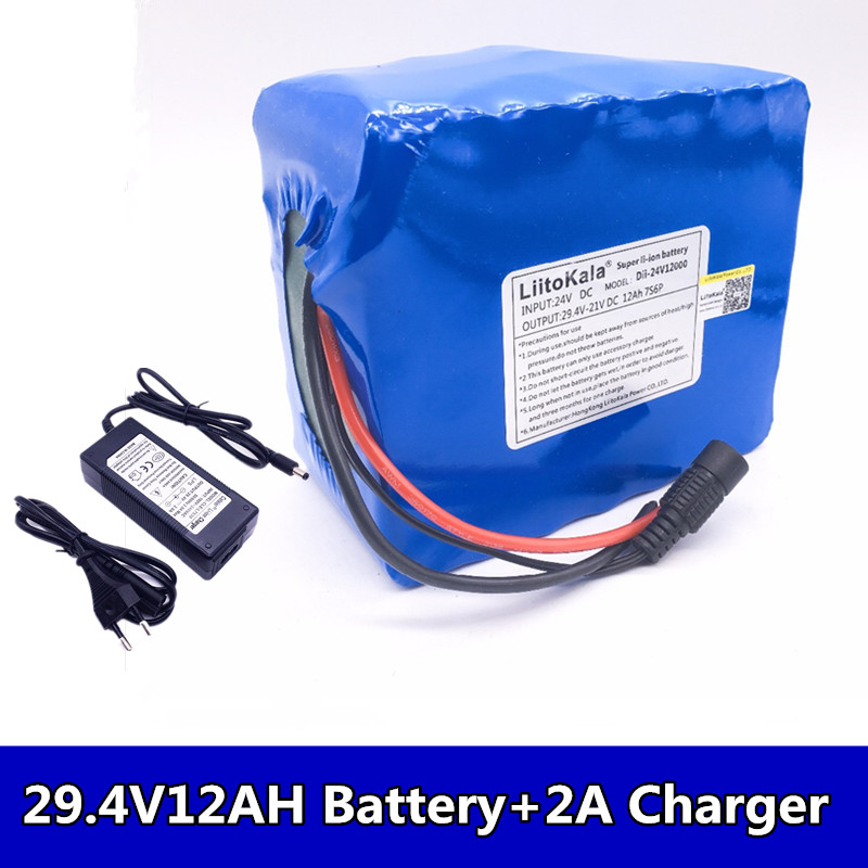 Liitokala 7s6p New win 24V 12Ah lithium <font><b>battery</b></font> electric bicycle 18650/<font><b>24</b></font> <font><b>V</b></font> (29.4 <font><b>V</b></font>) lithium-ion <font><b>battery</b></font> + 29.4 <font><b>V</b></font> 2a charger image