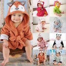 Милый банный халат с ушками животных для мальчиков и девочек, банные халаты с капюшоном, банные халаты, полотенца для малышей, толстовки с длинными рукавами, купальные халаты с поясом, одежда для сна