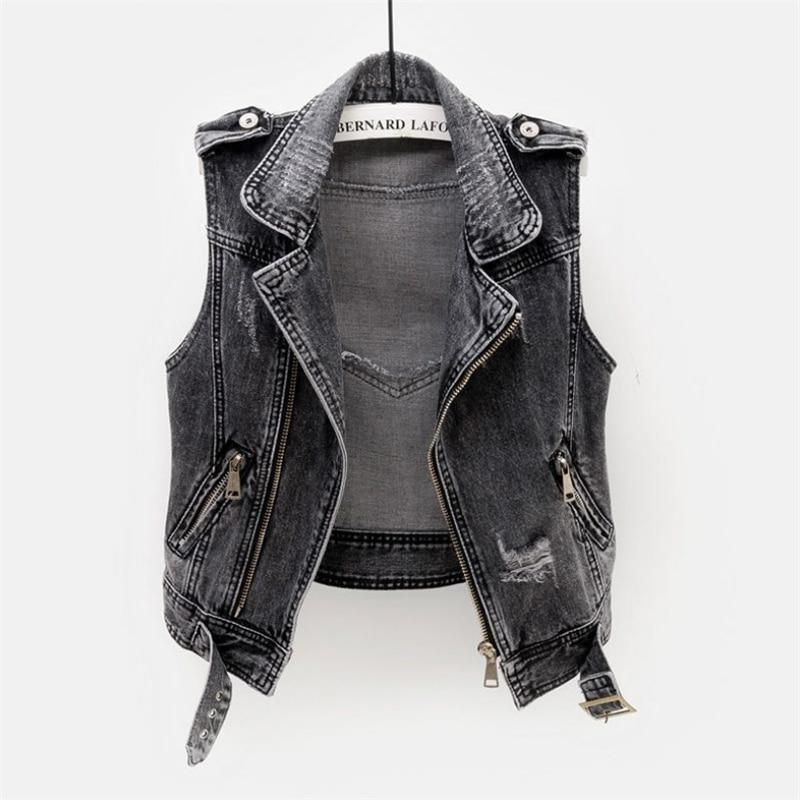 Fashion Denim Vest Female Spring Autumn Sleeveless Wild Tops Short Jacket Women Plus Size 5XL Smoky Innrech Market.com