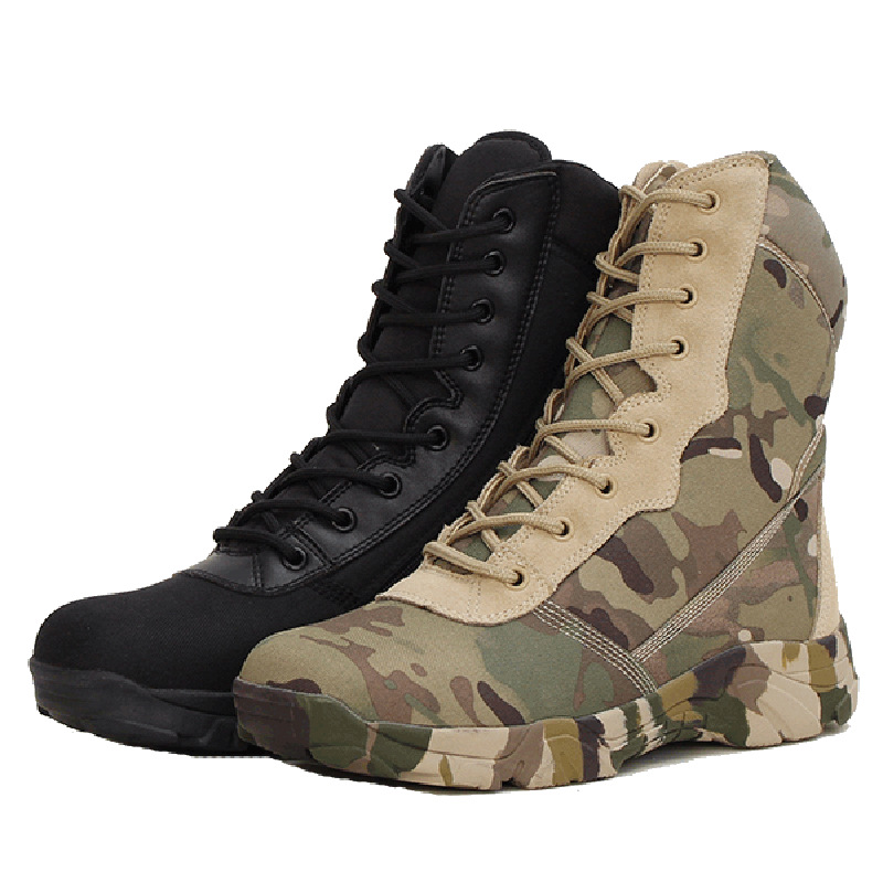 Man Military Boots Camouflage High Top Tactical Shoes Men's Army Fans Outdoor Hiking Shoes Desert Boots Waterproof Lace Up 2.5