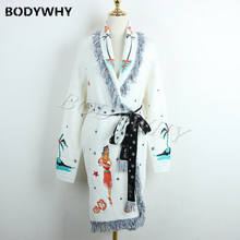 2020 New Womens Designer Inspired Embroidery Tassel Oversize Long Cardigan Jacket Outwear Tops Lady Coat(China)