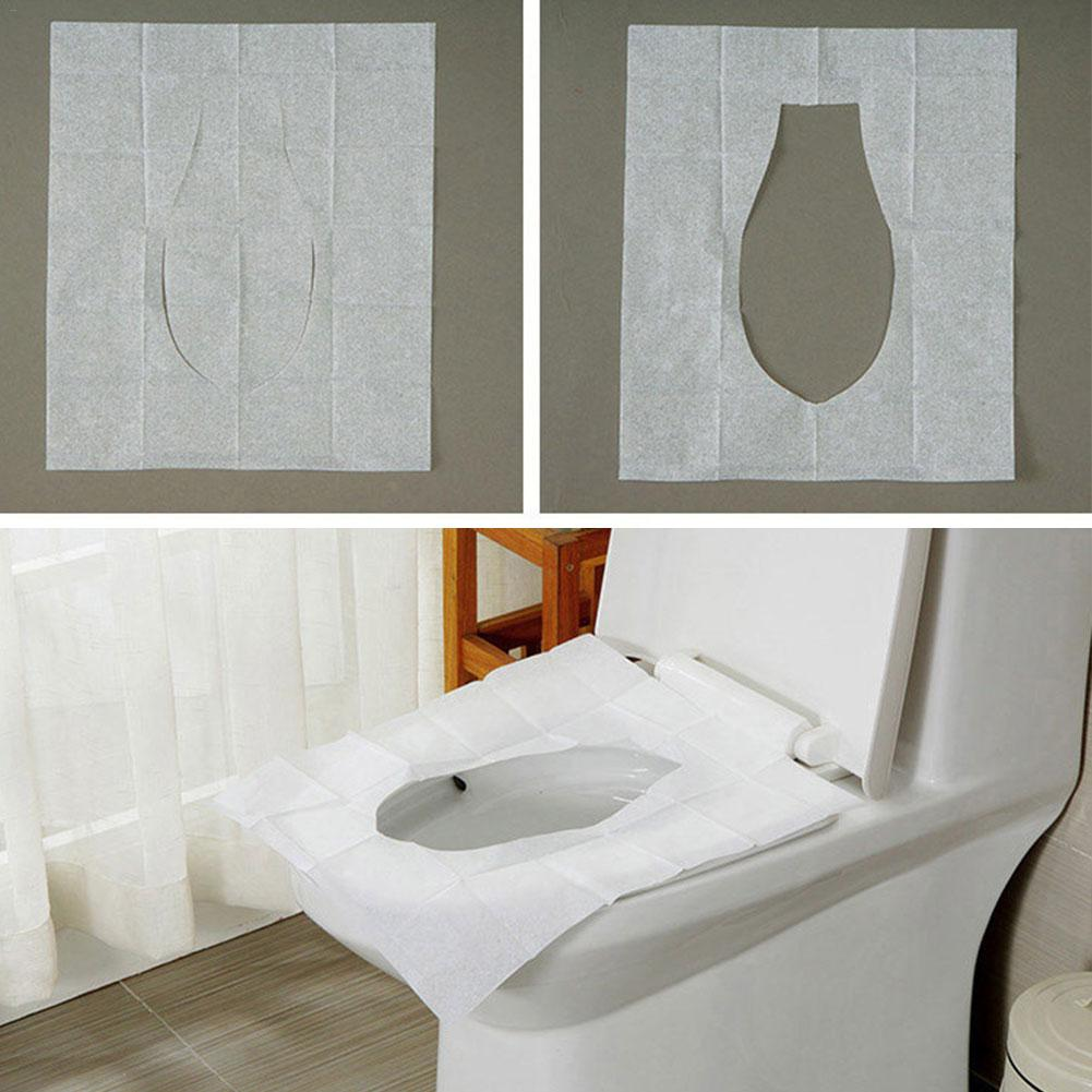 10Pcs Disposable Toilet Seat Cover Mat Portable Sanitary Safety Toilet Seat Pad For Travel/Camping Bathroom Accessories