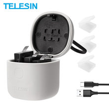 TELESIN 3PACK Batterie 3 Slots Ladegerät Set TF Kartenleser Lagerung Lade Box für Gopro 8 Hero 8 7 schwarz Hero 6 Hero 5