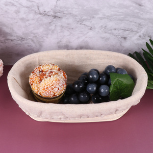 1 Sets Oval Shape Proofing Basket Bread Fermentation Proofing Basket Rattan Sourdough Container with Fabric Liner Cover for Baki