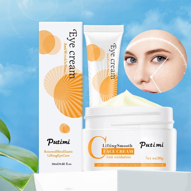 Anti-Oxidation Brighten Face Cream Shrink Pores Hyaluronic Acid Moisturizer Cream Anti Aging Eye Cream Dark Circles Eye Massager 10