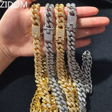 hot sale Men Hip hop Iced Out Bling chain Necklace Pave setting Rhinstones CZ Miami Cuban chains necklaces Hiphop male jewelry