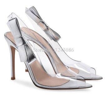 Women PVC Bowtie Stiletto Heel Sandals Fashion Peep Toe Butterfly-knot Single Shoes Lady Large Size Banquet Shoes Dropship