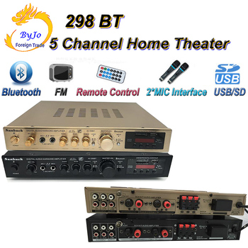 Sunback High Power amplifier 200W 5 Channel Home Theater Dual microphone reverberation Built in Bluetooth FM radio USB SD