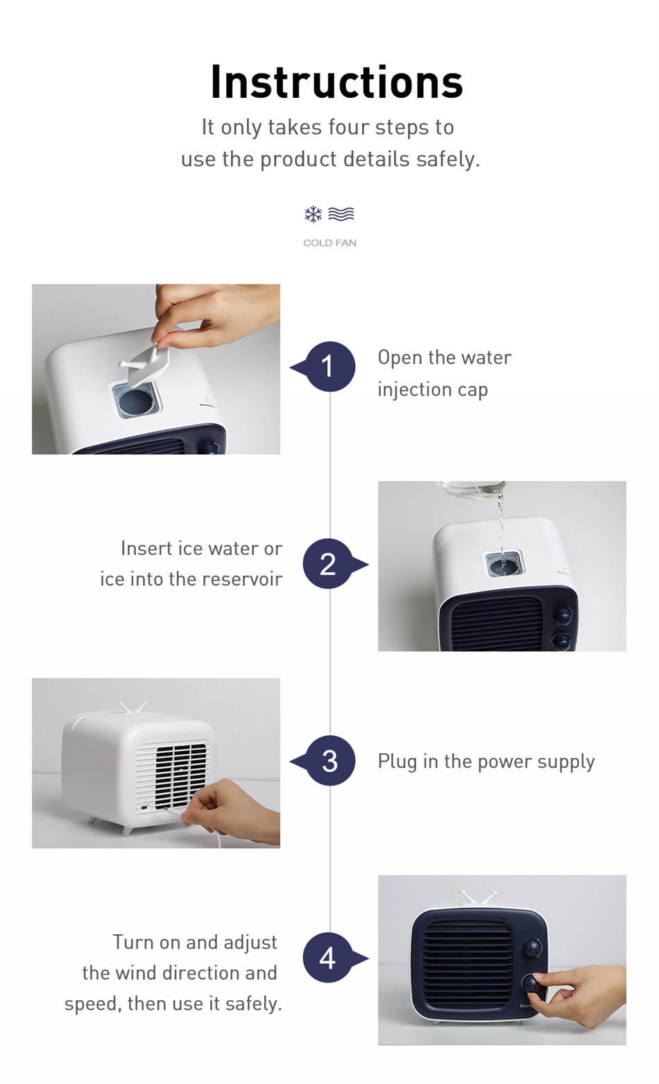 Baseus Portable Air Conditioner Fan Mini Air Cooler For Home Office Humidifier Purifier