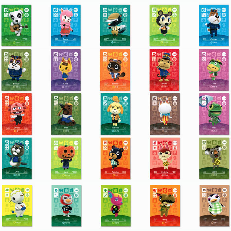(101 To 125 )Animal Crossing Card Amiibo Printed NFC Card Compatible Pick From The List