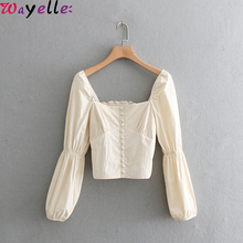 Long Sleeve Crop Tops Women 2019 Court Style Square Collar Casual Blouse Shirt Retro Puff Elastic Chic