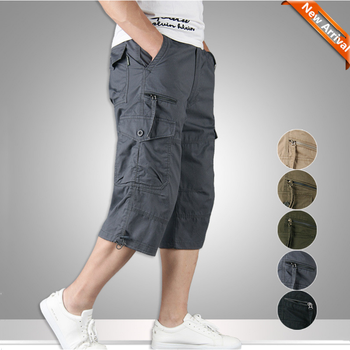 Summer Mens Casual Cotton Cargo Shorts Overalls Long Length Multi Pocket Hot breeches Military Capri Pants Male Tactical Short