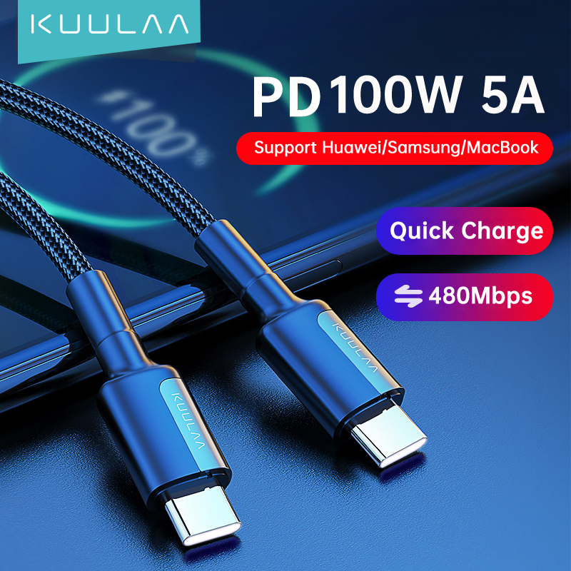 KUULAA PD 100W USB Typ C zu USB C Kabel 5A Schnelle Lade Ladekabel für Samsung S20 Xiaomi huawei Oneplus Macbook USB Kabel