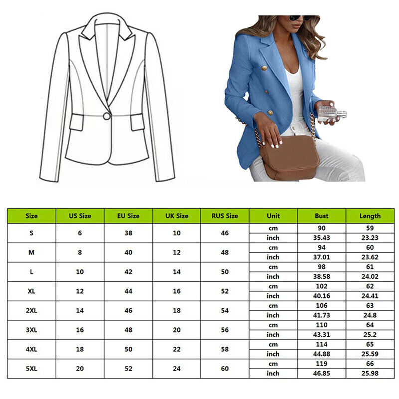 Women Ladies OLAutumn Long Sleeve Button Blazer Work Solid Coat Outwear Top Suit Plus Size