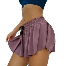 2020 Women Sports Shorts Skirts Ruffles Shorts Skirts Fitness Running Shorts Breathable High Waist Lace Up Skirts Gym Sportswear