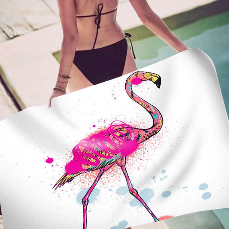 Toalha de praia flamingo floral banho toalha de chuveiro para adultos 550g microfibra 150cm tapete cobertor da esteira da ioga