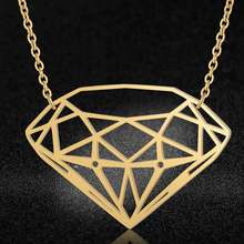 100% Real Stainless Steel Hollow Large Dia-Mon Shaped Necklace Special Gift Amazing Design Personality Jewelry(China)