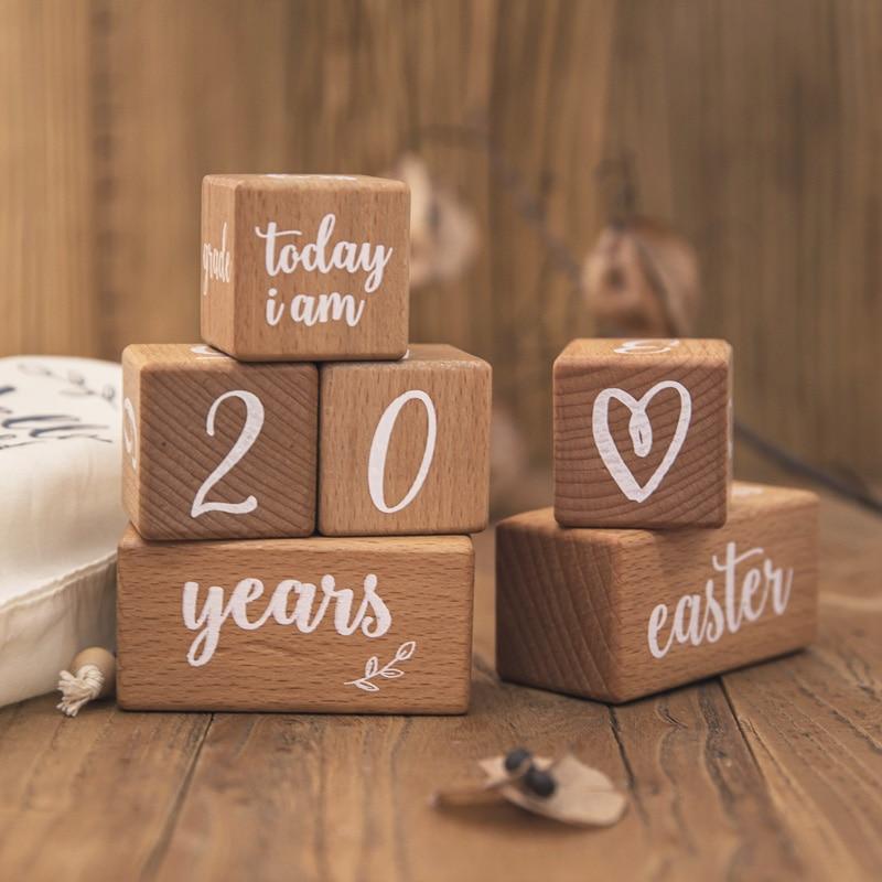 1Set Baby Milestone Karten Holz Block Mit Box Gedenken Baby Geburt Fotografie Prop Block Neugeborenen Fotografie Requisiten Set