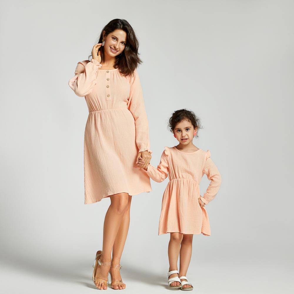 PatPat 2020 New Summer Solid Button Dresses For Mommy And Me Matching Outfits Long Sleeve Dresses