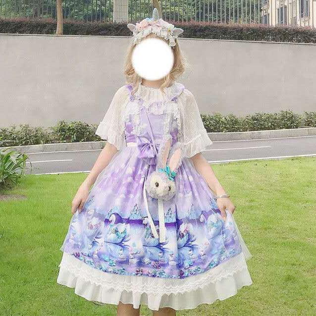 Summer JSK Sweet Blue Pink Sweet Light Cosplay Costumes Lolita Doll Collar Girl Lolita Op Kawaii Bottoms Lolita Summer Dress