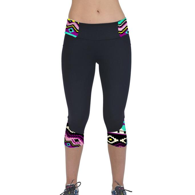 Women Printed Leggings Patchwork Skinny Capri Casual Pants Fitness Workout High Waist Leggings Cropped Pants Feminino #YJ