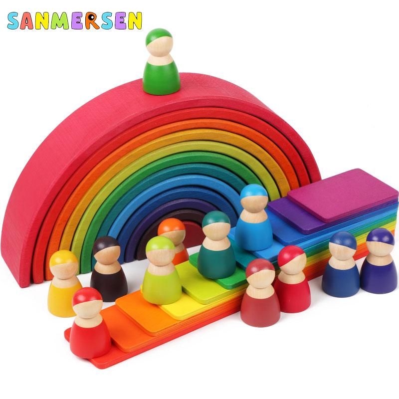 Brinquedos do bebê 12 pçs blocos arco-íris