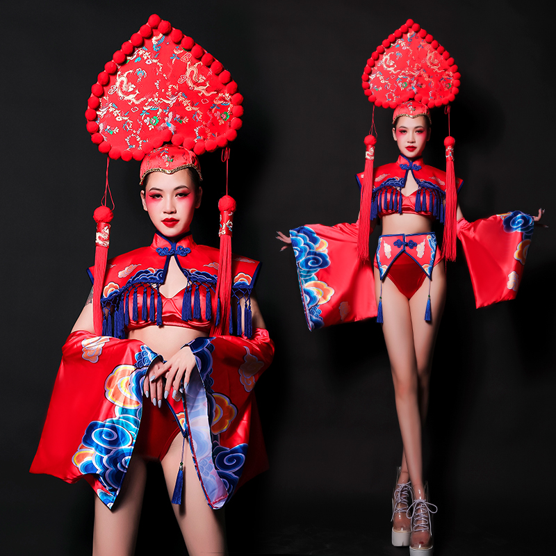 New Year Patty Nightclub Bar DJ Female Singer Catwalk Costume Sexy Chinese Style Models Stage Performance Dance Clothes DL5078
