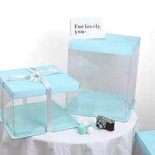 NICEYARD 1 шт. PET конфеты коробки для тортов и пирожных прозрачная подарочная коробка для кексов с прозрачным квадратным коробки для тортов и пирожных 6/8/10 дюймов Свадебная вечеринка торт