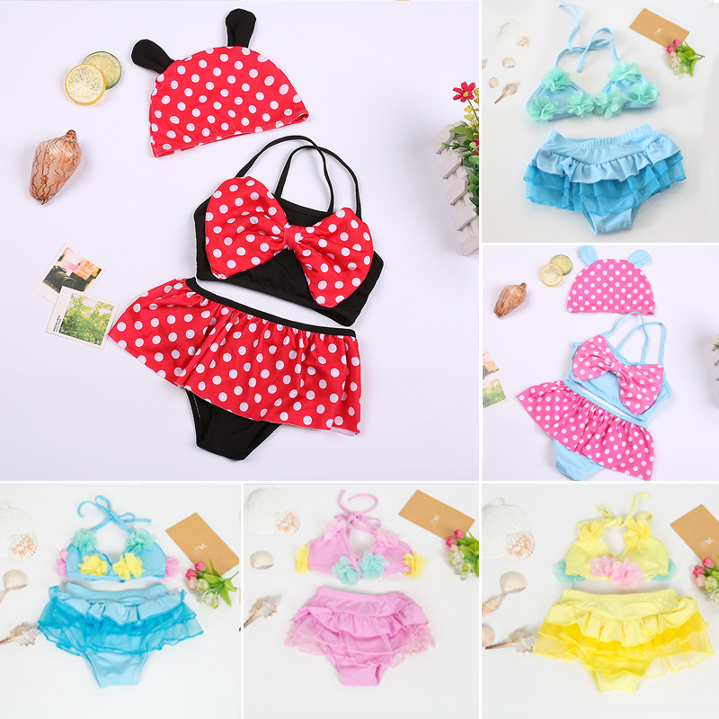 0-12 Month Infants Hooded Bathing Suit Split Type Dotted Briefs Small CHILDREN'S Baby Girls Swimwear Nt1008