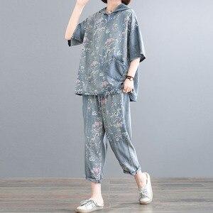 Feminino novo verão plus size estilo coreano moda casual impresso retro angustiado tencel solto denim terno