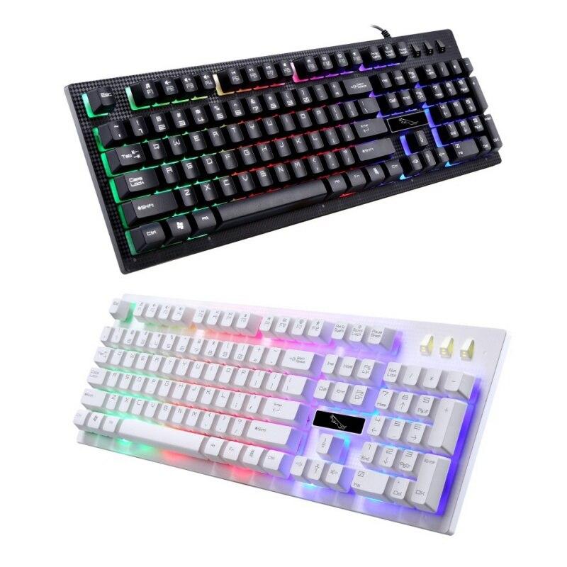 G20 Teclado retroiluminado USB con cable PC ordenador portátil teclado luminoso para juegos teclado flotante personalizado